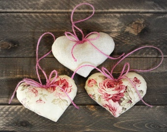 Valentine Heart Ornaments- Valentine Day Decor-Rustic Heart Wall Decor-Holiday Decorations-Rustic Hearts-French Country Decor