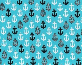 Anchor jersey, splash splash knit, jersey, anchor fabric, nautical jersey, underwater jersey, sealife jersey, sealife fabric, nautical harem
