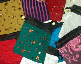 20 Little Cloth Gift Bags - Drawstring Fabric Bags Made from Assorted Fabrics - Jewelry Bags