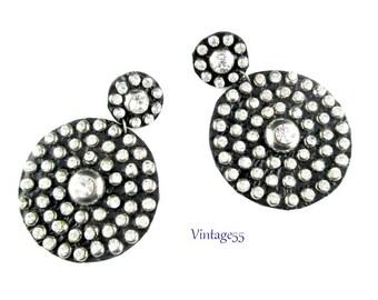 Earrings Mod Rhinestone Black Clip on 1960