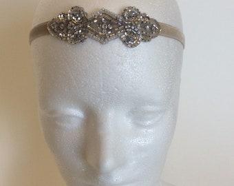 Great gatsby headbands, silver headpiece, 1920s headbands, flapper headband , champagne headband, putty velvet ribbon, beaded gatsby dress