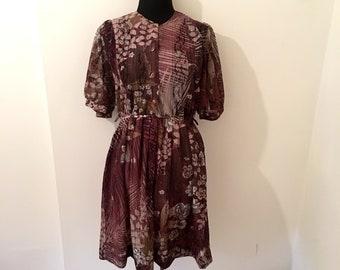 Vintage MAUVE FLORAL LACE dress