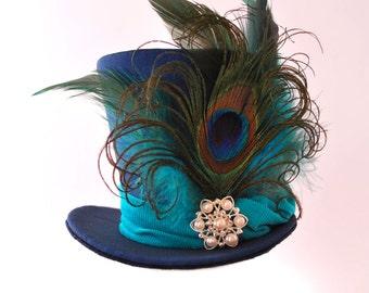 Burlesque, Gothic, Steampunk, Victorian, Showgirl, Moulin Rogue, Blue Navy Mini Top Hat Taffeta Iridescent, peacock feather