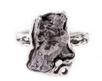 Iron Campo del Cielo meteorite sterling silver handmade  ring