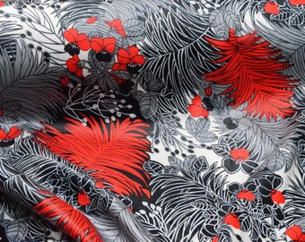 Jungle fabric red silver palms cotton, crazy glitch sad boys Aesthetic Yung Lean original Vaporwave fabric by the yard