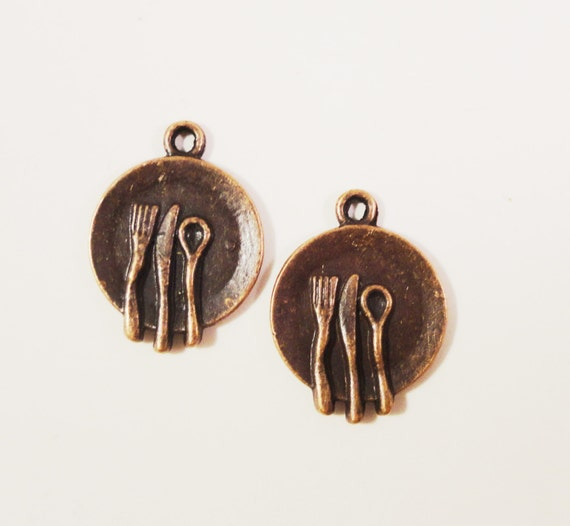 Copper Plate Charms 20x15mm Antique Copper Metal Dinner Plate Pendants, Silverware Charms, Jewelry Making, Jewelry Findings 10pcs