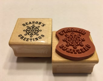 Seasons Greetings rubber stamp, 25 mm (BR120)
