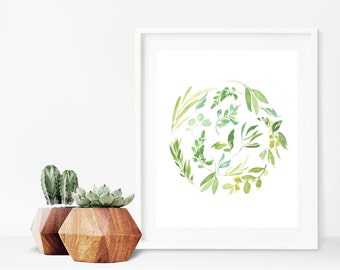 Greenery Print - Greenery Decor - Botanical Wall Art - Watercolor Botanical Print - Botanical Decor - Printable Art - Digital Download 8x10