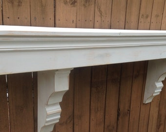 Floating Mantle Shelf, Distressed White Floating Shelf, Shabby Chic Mantle,Primitive Distressed Mantle