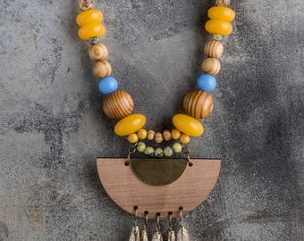Boho chic statement necklace beaded necklace large beads necklace color MALLORCA