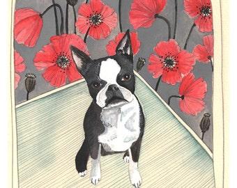 Art Print - Wall Art - Pet Portrait - Home Decor Art Print - Boston Terrier Art - Boston Terrier Print - 8x10 Print - Chloe