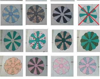 Vintage Hand Sewn Dresden Plate Quilt Blocks Pieced fabrics Quilt 70s ***SOLD by PIECE****