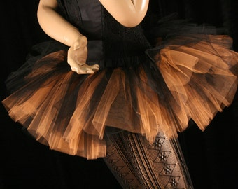 Team colors Tutu skirt Adult Peek a boo mini orange black dance costume halloween roller derby bengles - You choose size - Sisters of