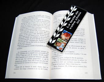 Personalized bookmark clap cinema 2 photos and text of your choice