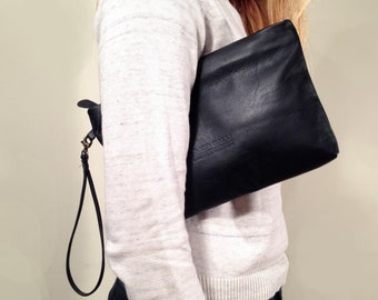 Sale!!! Black Leather wristlet, Wristlet Clutch, Leather clutch, Black leather clutch, leather bag, LINDA