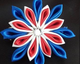 Red, white and Blue Kanzashi flower on Barrette