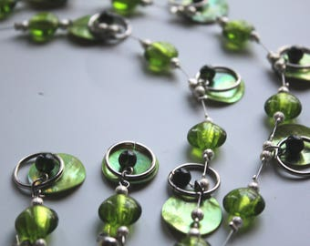 Green Venetian Glass with Green Shell and Rings Necklace and Earrings Set