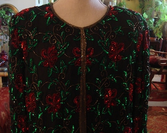 Vintage 1990s Boho Chic Red and Green Embroidered and Sequin Jacket