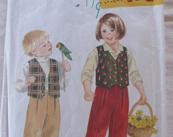 vintage SIMPLICITY 9266- It's Sew Easy- For Kids --Child's Pant and Lined Vest (size A- 2,3,4,5,6,6x)  1994