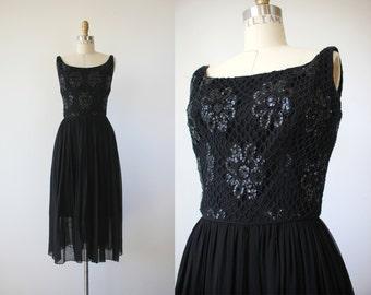 1960s black party dress / 60s saks fifth avenue little black dress / 60s beaded sequin dress / 50s LBD / 60s black chiffon dress / xs small