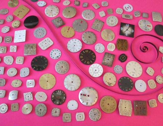 100 Antique & Vintage Wrist Watch Dials - Mixed Metals for your Watch Projects - Jewelry Making - Steampunk Art