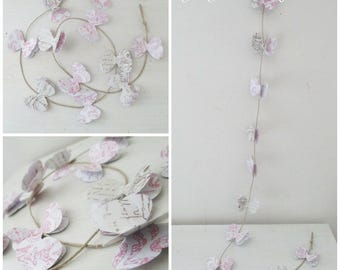 Shabby chic white rose vintage style paper Butterfly Garland