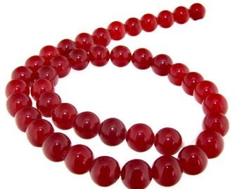 8mm  Round Red Jade 42Beads Gemstone Strand