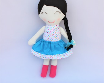 Personalized Rag doll, Fabric girl doll, personalized Christmas gift, girl doll fabric, cotton doll and Felt,