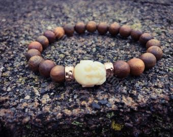 Sandalwood Wrist Mala with Buddha, Stackable Bracelet