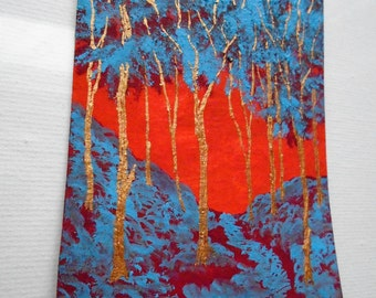 "Twilight Woods #212 (ARTIST TRADING CARDS) 2.5"" x 3.5"" by Mike Kraus"