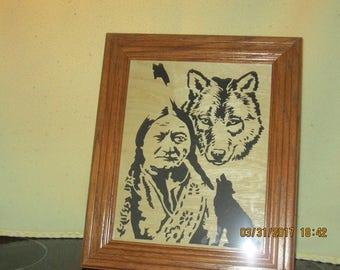 Sitting Bull & Wolf Portrait
