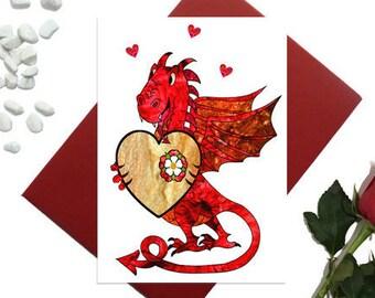 Welsh dragon Valentine's day card - Dragon with heart card - Birthday card - Dragon love card - Cute dragon card - Wales card, A6