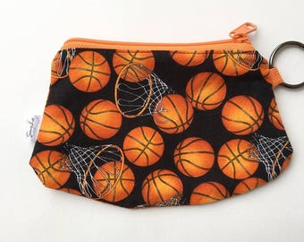 basketball coin purse. zipper pouch. choose zipper color and interior. small purse, clutch, wallet, phone pouch.