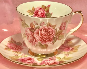 Pretty Pink Addiction-Duchess Ribbed Roses Teacup and Saucer