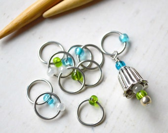 SALE!! Bellflower / Knitting Stitch Marker Set / Snag Free / Small Medium Large Sizes Available