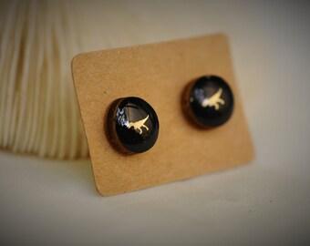 BOIS boucle d'oreille, boucle d'oreille bois noire, dinosaure REX bois boucles d'oreilles or sur acier inoxydable Post ~ 10 mm - filles / Casual / Cutie