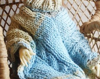 New Price - Poncho blue-gray-straw yellow cotton, MSD BJD doll