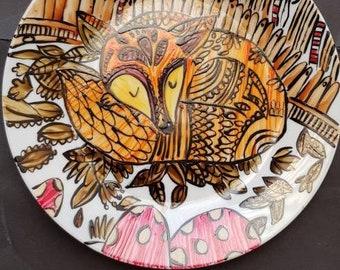 Hand Painted Sleeping Fox snack plate.