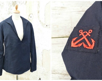 Vintage 1969 Nautical shirt jacket Authentic French army navy sailor jacket navy blue wool uniform