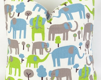 Elephants Pillow Cover -MANY SIZES- Trunk Tales Mantis Macon baby blue lime green brown decorative throw euro sham custom