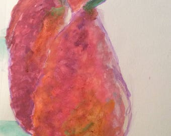 pear, watercolor art, original watercolor, pear art, watercolor fruit, kitchen art, red pears, pear painting,