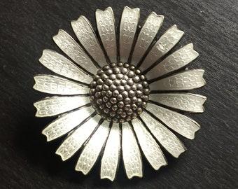 Anton Michelsen silver and enamel daisy brooch