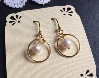 Pearl hoop dangle earrings, gold vermeil. Simple elegant daily look