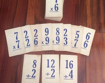 Flash cards, vintage school, multiplication and division, math flash cards, paper ephemera