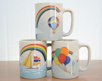 Otagiri Rainbow Mugs, Made in Japan Hot Air Balloon, Sailboat, Birthday Party Balloons - Retro Pride, Fantasy, Sky, Boat, Party