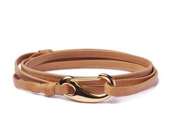 Men's Bracelets - Leather Bracelet for Men - Brown leather bracelet - leather gold bracelet for Men - wrap adjustable bracelet for men