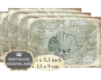 Bath Maison Salle de Bain Sea Shells Starfish Beach 5x3.5 inch Instant Download digital collage sheet P130