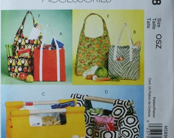McCall's M5898 Tote, Bag, Bottle Carrier Sewing Pattern New/Uncut