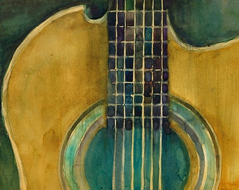 Martin Guitar - Green Background - Watercolor Art Print - Size  8.5 x 11