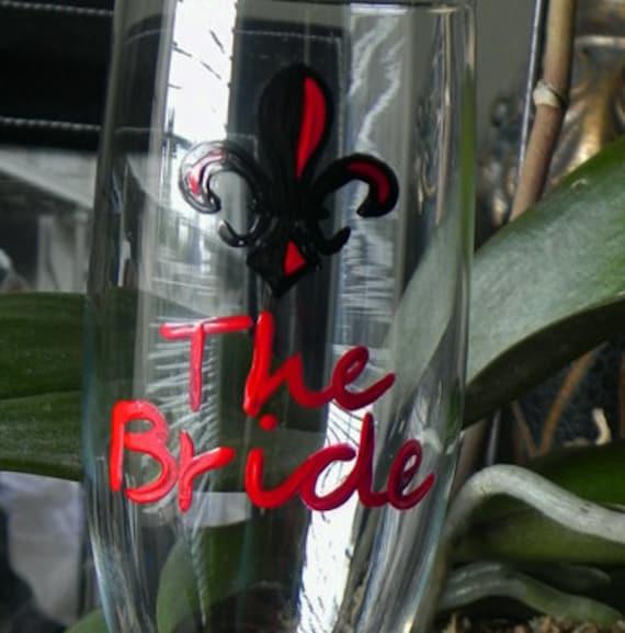 Arkansas State Wedding champagne flutes
